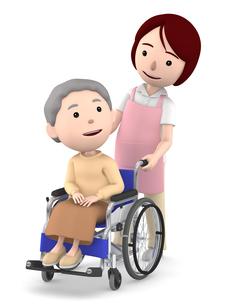 車いすのおばあさんと女性ヘルパーのイラスト素材 [FYI00766632]