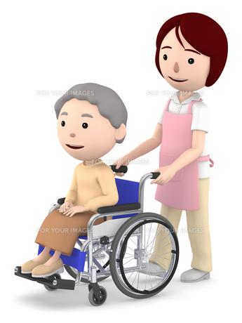 車いすのおばあさんと女性ヘルパーのイラスト素材 [FYI00766633]