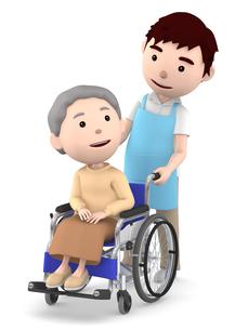 車いすのおばあさんと男性ヘルパーのイラスト素材 [FYI00766634]
