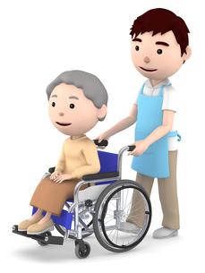 車いすのおばあさんと男性ヘルパーのイラスト素材 [FYI00766635]