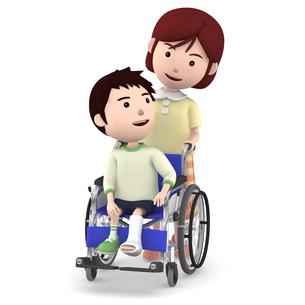 車いすに座るギブスの男の子と介助するお母さんのイラスト素材 [FYI00766637]