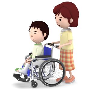 車いすに座るギブスの男の子と介助するお母さんのイラスト素材 [FYI00766640]