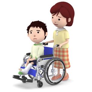 車いすに座るギブスの男の子と介助するお母さんのイラスト素材 [FYI00766641]