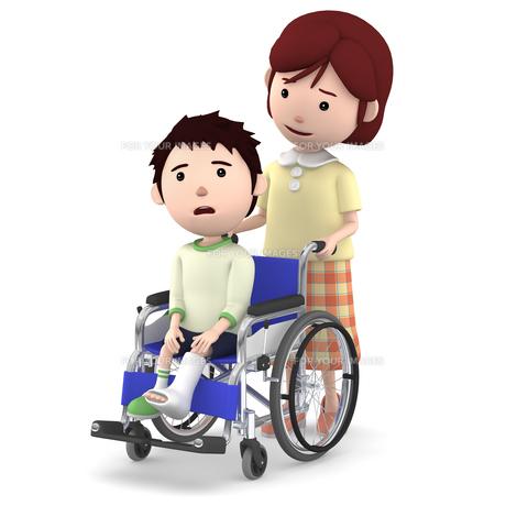 車いすに座るギブスの男の子と介助するお母さんのイラスト素材 [FYI00766642]
