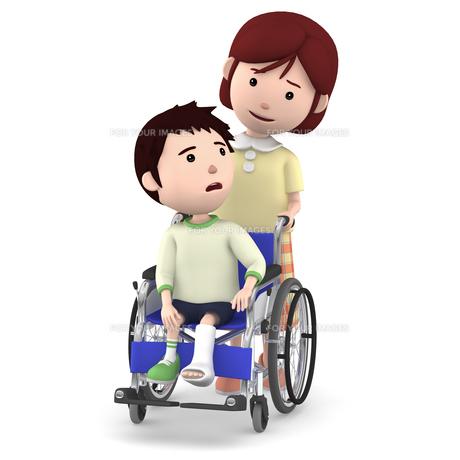車いすに座るギブスの男の子と介助するお母さんのイラスト素材 [FYI00766643]