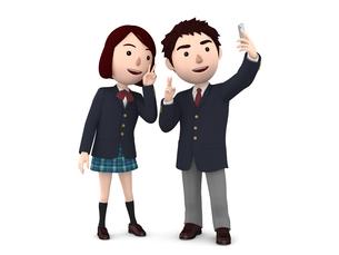 高校生 男女ペアのイラスト素材 [FYI00767093]