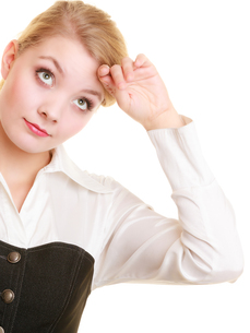 overworked tired businesswoman woman girlの写真素材 [FYI00767194]