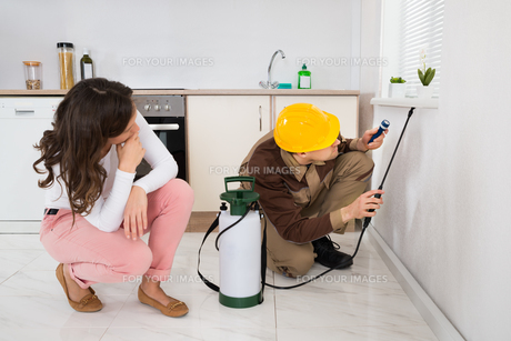 Woman Looking At Worker Spraying Insecticide Under Windowsillの写真素材 [FYI00767806]