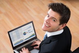 Businessman Analyzing Statistical Data On Laptopの写真素材 [FYI00767859]