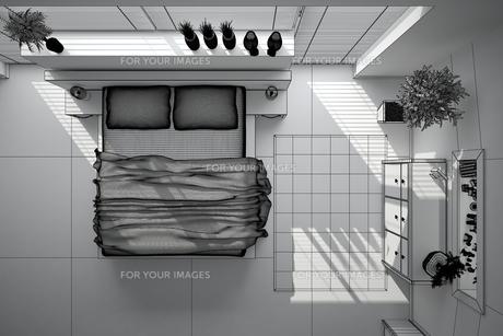 3D interior rendering of a modern bedroomの写真素材 [FYI00769623]
