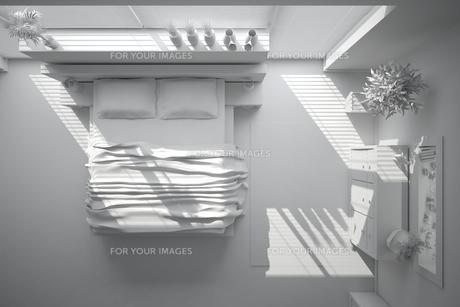 3D interior rendering of a modern bedroomの写真素材 [FYI00769626]