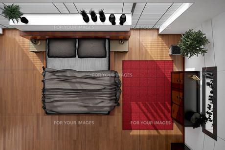 3D interior rendering of a modern bedroomの写真素材 [FYI00769628]