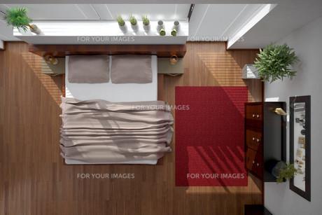 3D interior rendering of a modern bedroomの写真素材 [FYI00769636]