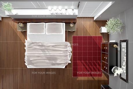 3D interior rendering of a modern bedroomの写真素材 [FYI00769646]