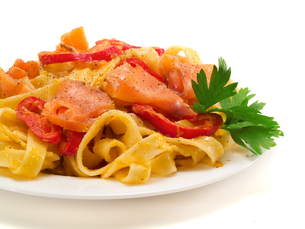 Pasta Collection - Tagliatelle with Salmon and Peppersの写真素材 [FYI00770298]