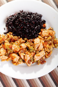 Turkey with capers and wild rice,Turkey with capers and wild rice,Turkey with capers and wild rice,Turkey with capers and wild riceの写真素材 [FYI00771086]