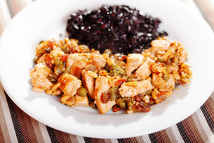 Turkey with capers and wild rice,Turkey with capers and wild rice,Turkey with capers and wild rice,Turkey with capers and wild riceの写真素材 [FYI00771109]