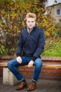 young handsome man outdoorsの写真素材 [FYI00771189]