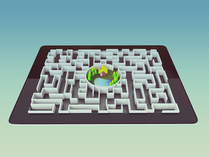 Maze Strategy Success Solution Determination Direction Conceptの写真素材 [FYI00771256]