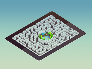 Maze Strategy Success Solution Determination Direction Conceptの写真素材 [FYI00771266]