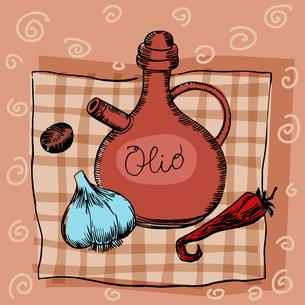 Olive oil garlic seasoning and pepperの写真素材 [FYI00771370]