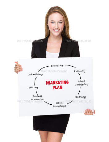 Businesswoman show a white poster with marketing planningの素材 [FYI00771568]