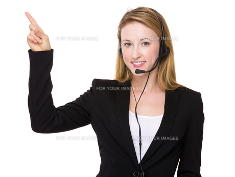 Customer services representative with finger point upの素材 [FYI00771586]