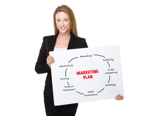 Businesswoman holding with a placard showing marketing planningの素材 [FYI00771588]