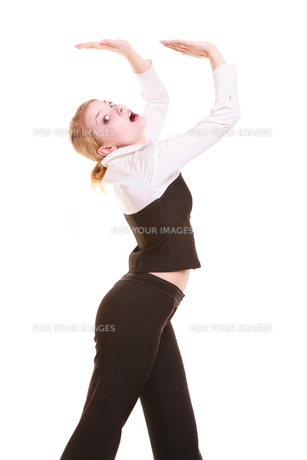 businesswoman pushing away blank copy spaceの写真素材 [FYI00771719]