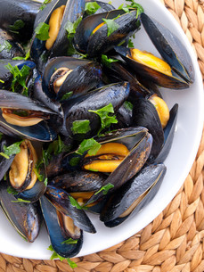 Mussels with butter and fresh herbs,Mussels with butter and fresh herbs,Mussels with butter and fresh herbs,Mussels with butter and fresh herbsの素材 [FYI00771727]