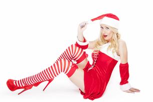 Sexy blonde Christmas girlの写真素材 [FYI00771966]