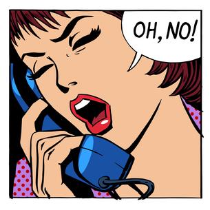 Oh no emotional talk women phoneの写真素材 [FYI00772142]