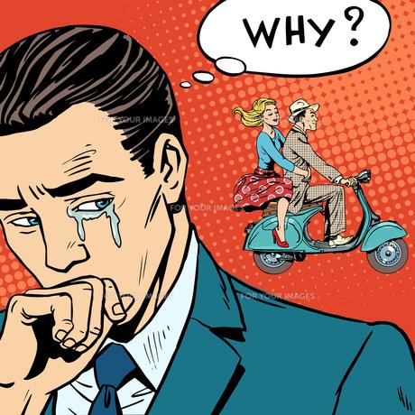 man weeps love breakup cheatingの写真素材 [FYI00772149]