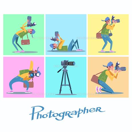 Set photographer camera reporter blogger journalist paparazziの写真素材 [FYI00772150]