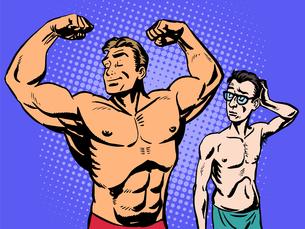 Bodybuilder and thin man sport fitnessの素材 [FYI00772161]