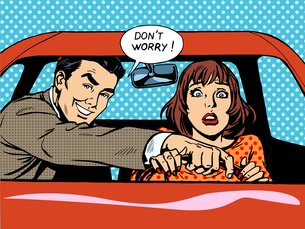 Driving school driver woman carの写真素材 [FYI00772216]