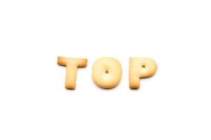 Word top biscuit isolated on white backgroundの写真素材 [FYI00772265]