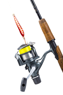 fishing rod and reel with lineの写真素材 [FYI00772421]