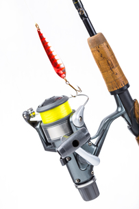 fishing rod and reel with lineの写真素材 [FYI00772440]