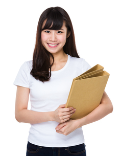 Young woman hold with document workの写真素材 [FYI00772592]