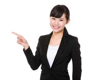 Young Businesswoman with finger point upの素材 [FYI00772726]