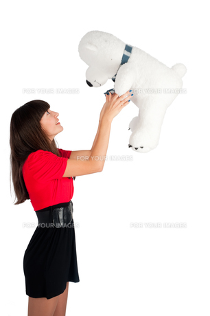 Pretty girl with bear toyの写真素材 [FYI00772782]