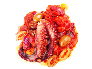 Octopus with tomato sauce and olivesの写真素材 [FYI00773002]