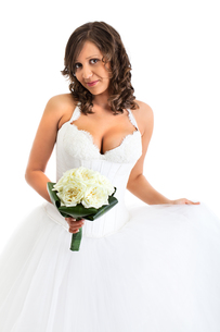 Young bride with wedding bouquet,Young bride with wedding bouquet,Young bride with wedding bouquet,Young bride with wedding bouquetの写真素材 [FYI00773292]