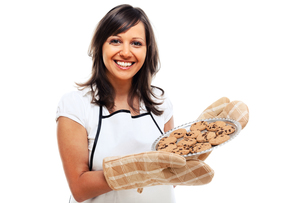 Young woman with homemade cookiesの写真素材 [FYI00773319]