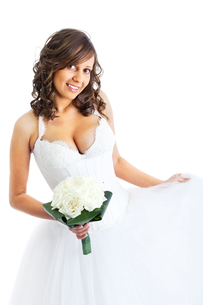 Young bride with wedding bouquet,Young bride with wedding bouquet,Young bride with wedding bouquet,Young bride with wedding bouquetの写真素材 [FYI00773913]