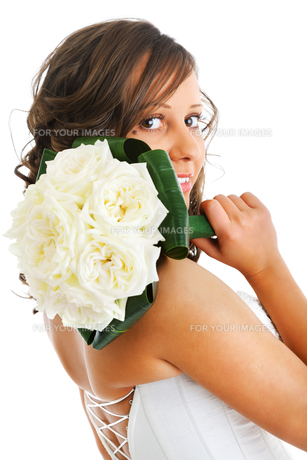 Young bride with wedding bouquet,Young bride with wedding bouquet,Young bride with wedding bouquet,Young bride with wedding bouquetの写真素材 [FYI00773982]