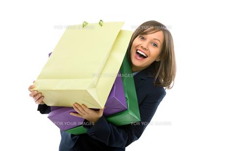 Businesswoman with presentsの写真素材 [FYI00774039]