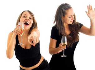 Girls dancing with champagne,Girls dancing with champagneの写真素材 [FYI00774041]