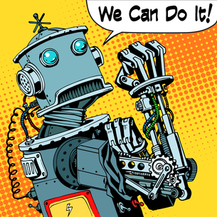 robot we can do it protest future power machineの写真素材 [FYI00774739]
